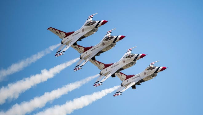 The United States Air Force Thunderbird demonstration team.