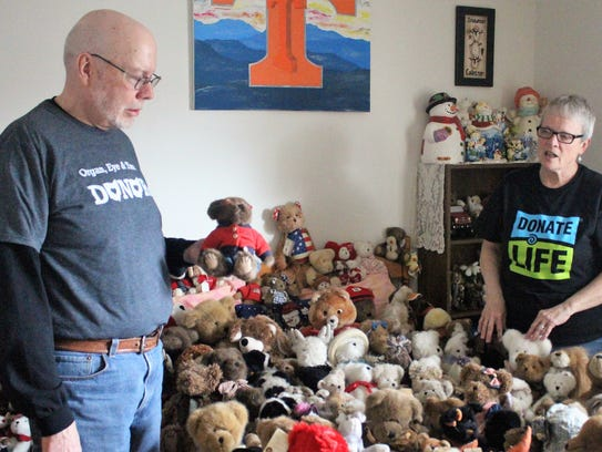 Steve and Beverly Hindman stand in a room dedicated to their daughter Carrie's stuff bear collection. The 35-year-old mother of two and organ donor passed away in 2011. Parts of her body have helped more than 50 ailing people.