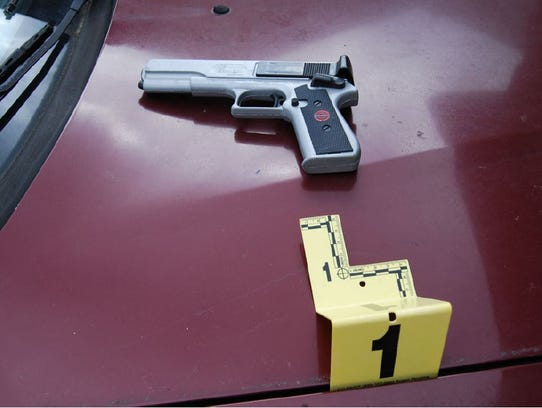 This evidence photo shows a BB pistol that authorities