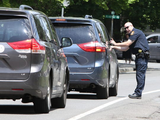 A Ramapo Police officer stops a motorist who didn't