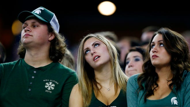 Michigan State fans -- not happy during the Cotton Bowl loss to Alabama.