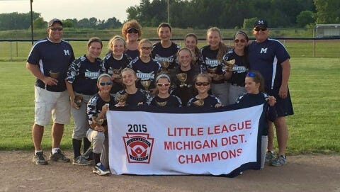 The Marysville 12-and-under girls softball team won the district championship Friday night.