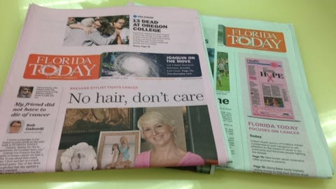 Today's FLORIDA TODAY (Oct. 2 edition) is all-pink, to promote cancer awareness