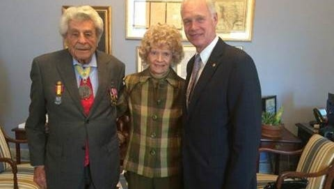 James Megellas, 98, and his wife, Carole Megellas, visit with Sen. Ron Johnson at the Capitol this week. A bill is waiting for action that would name the Fond du Lac Post Office after the World War II veteran.