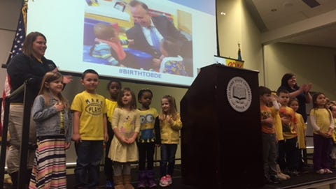 "Students in the Delaware State University early education program sing ""My Country, 'Tis of Thee"" to kick of a summit on early education Wednesday in Dover. Gov. Jack Markell's proposed budget includes $11.3 million for pre-kindergarten education."