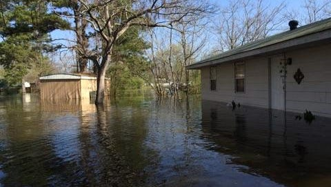 Flooding near Ferry Lake School Road in Caddo Parish