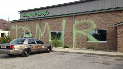 Graffiti found on Jump-N-Joey's in Bloomington.