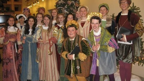 """The Kohler High School Madrigal Singers at Maywood Environmental Park shown helping promote """"Wishing for Winter"""" program with song and entertainment on Saturday, Dec. 2."""