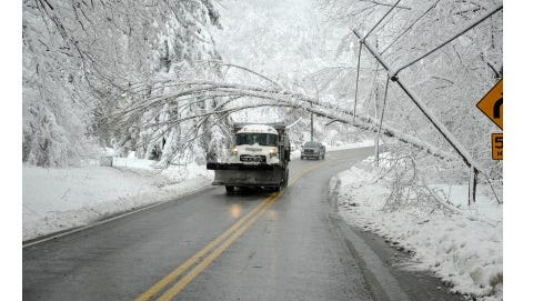 West Penn Power crews are preparing for events such as this snapped pole in an undated storm.