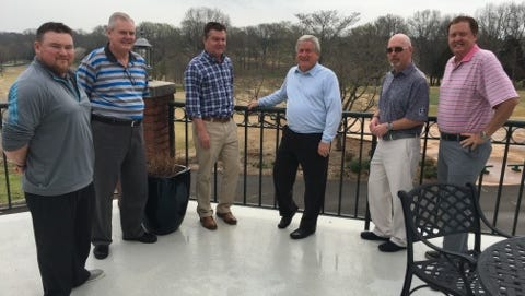 Among those leading the forward momentum of the Clarksville Country Club are, from left, Justin Browning, superintendent; Ben Jones, general manager; investors John Hadley and John R. Wallace; Jeff Finney overseeing marketing, and Jeff Vaughn, director of golf.