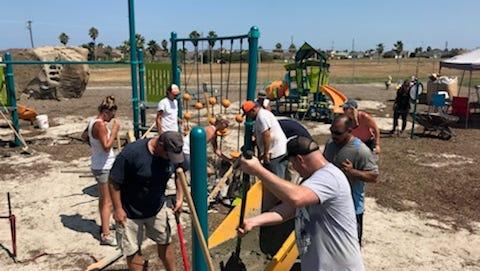 Volunteers work on Billish Park on Padre Island.