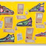 """Sneakers, Computers, Capri Sun,"" by Katherine Bernhardt, 2014. Acrylic spray paint on canvas, 96 inches by 120 inches. Part of the exhibit ""Unfixed: New Painting"" at ASU Art Museum."