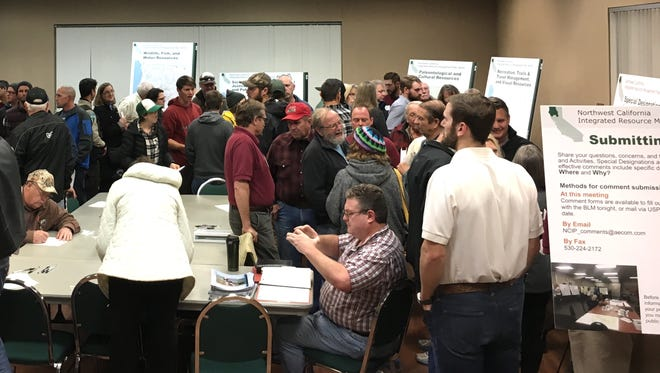 An estimated 80 people attended a meeting to gather comment on an update to the U.S. Bureau of Land Management's Resource Management Plan for the Redding Field Office.