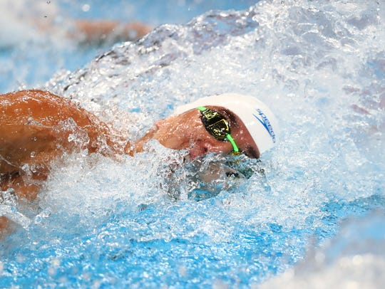 Nathan Adrian (USA) during the men's 100 freestyle