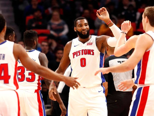 Pistons center Andre Drummond (0) celebrates with teammates