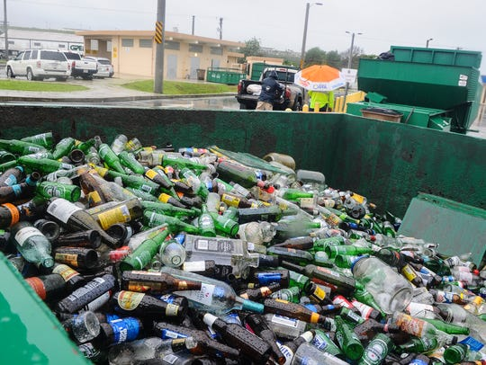Bottles and other glass products slated to be recycled