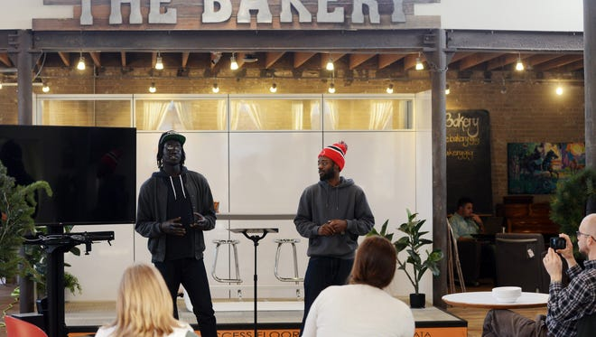 The Bakery in happier times, December, 2015, as Moses Tut and Malik Glass of Conscious Youth Solutions pitch their nonprofit to other members.