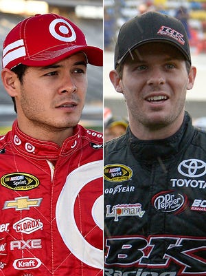 Kyle Larson, left, says fans used to mistake him for Ryan Truex, right.