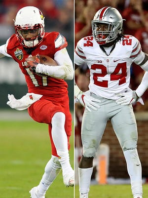 Louisville WR James Quick, left, propels the Cardinals' high octane offense. Ohio State S Malik Hooker, right, drives the Buckeyes' powerful defense.