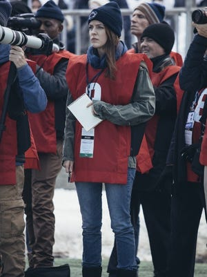 "Riley Keough portrays reporter Sara Ganim in the ""Paterno"" movie from HBO."