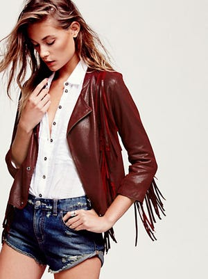 Free People, with a location in Center City, Philadelphia, carries a Fringe Dreams jacket ($569) in burgundy buttery leather.