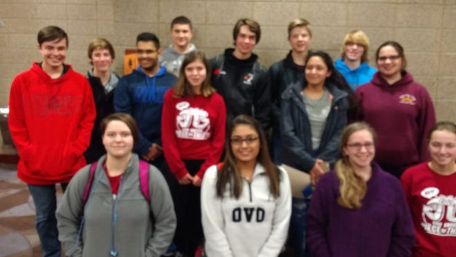 The entire Fond du Lac High School Math Team placed second at the meet. Pictured are, front row, from left: Catherine Schmtiz, Shefali Bhatt, Katherine Behlke and Emma Bahr; middle: Bray Wiese, Braden Gerritson, Karanvir Signh, McKenna Martin, Camila Deleon and Emily Jacobson; back row: Timothy Johnson, Josh Stephany, Brian Skupas and Ethan Hill.