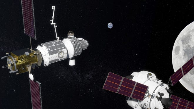 Artist's concept of NASA's proposed Deep Space Gateway in lunar orbit.