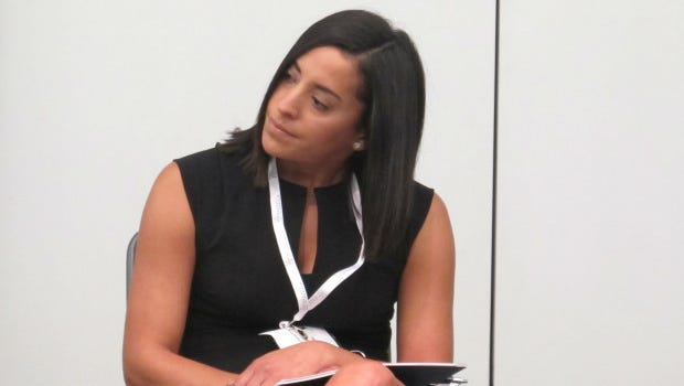 Governor Tom Wolf's deputy chief of staff Yesenia Bane, speaking at natural gas industry conference in 2016.