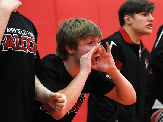 Fairfield Union wrestlers cheer on their teammate Brandon