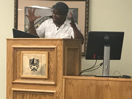 "An animated Tyehimba Jess speaks about creating his Pulitzer Prize-winning book of poems, ""Olio,"" at Hardin-Simmons University's Lawrence Clayton Poets & Writers Speaker Series on Friday."