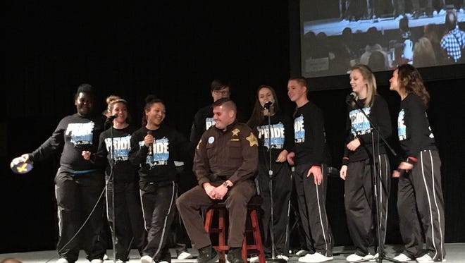 The Delaware County PRIDE team performs during the 21st annual Red Ribbon Week kickoff breakfast Oct. 25 at the Horizon Convention Center.