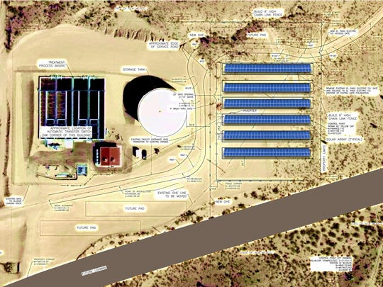Aerial photo of East Mesa Water Reclamation Facility with artist rendering of solar farm.