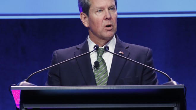 January 15, 2020 - Atlanta -  Gov. Brian Kemp presents his address  More than 2,500 people attended the annual Georgia Chamber of Commerce - Eggs & Issues Breakfast.  Speakers included Gov. Brian Kemp, Lt. Gov. Geoff Duncan, House Speaker David Ralston, and U.S. Senator David Perdue.    Bob Andres / bandres@ajc.com