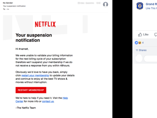 The Grand Rapids Police Department is warning  Netflix