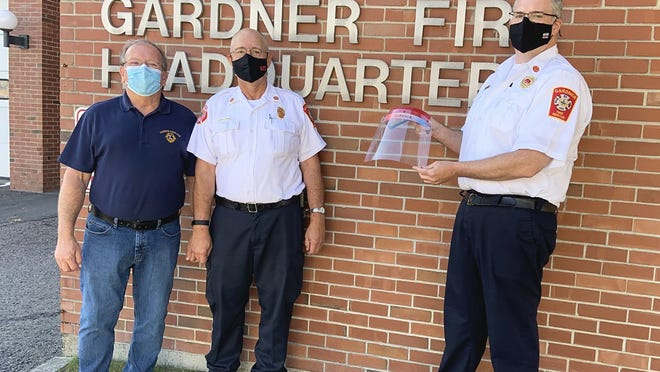 The Gardner Fire Department received a donation of face shields from the Gardner Lions Club on Tuesday, Sept. 29. From left are Lions Club member Stephen Cormier, Fire Chief Richard Ares and Fire Capt. Gregory Lagoy.