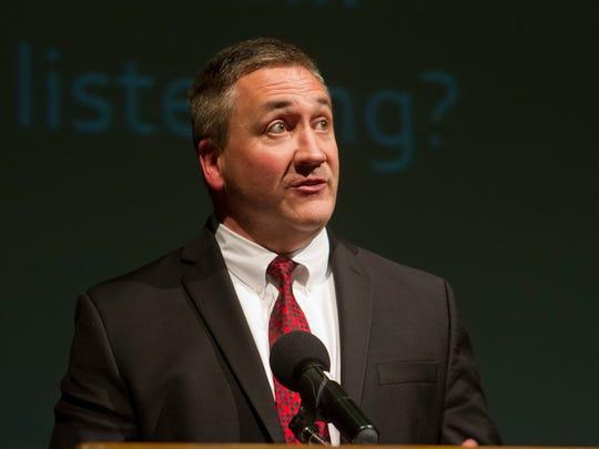 State Assemblyman Brian E. Rumpf at Pinelands Regional High School in October.