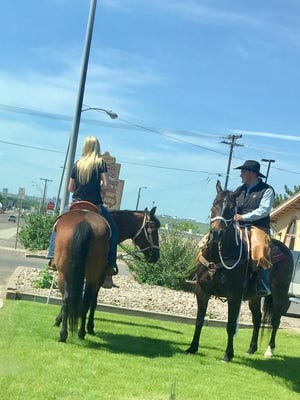 You never know what you'll see in Great Falls. Two horses ridden through the McDonald's drive-through on 3rd Street NW.