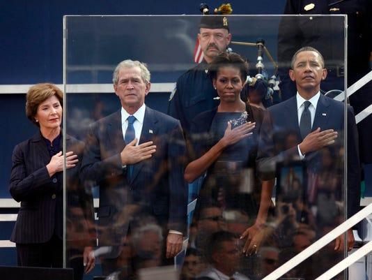 Barack Obama, Michelle Obama, George W. Bush, Laura Bush