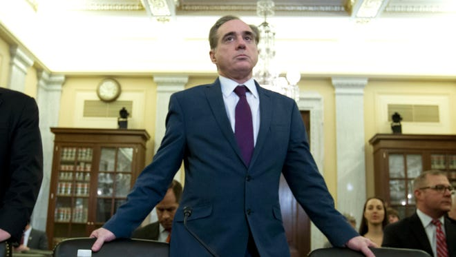 Veterans Affairs Secretary David Shulkin arrives March 21, 2018, to testify on veterans programs on Capitol Hill.
