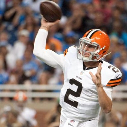 Aug 9, 2014; Detroit, MI, USA; Cleveland Browns quarterback Johnny Manziel (2) drops back to pass during the second quarter against the Detroit Lions at Ford Field. Mandatory Credit: Tim Fuller-USA TODAY Sports ORG XMIT: USATSI-180600 ORIG FILE ID:  20140809_jla_af2_417.jpg
