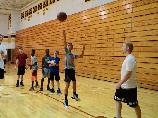 Nike Boys Basketball Camp at Salisbury University, led by Head Men's Coach Andy Sachs and staff, works with young players on Saturday, June 24, 2017 at Maggs Physical Activity Center.