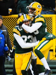 Green Bay Packers defensive back Micah Hyde, left,
