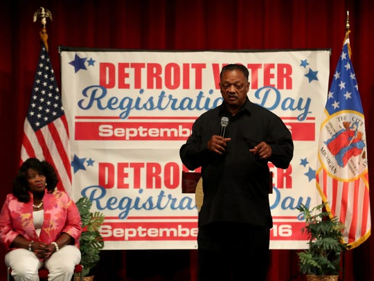 The Rev. Jesse Jackson talks with the 560 members of