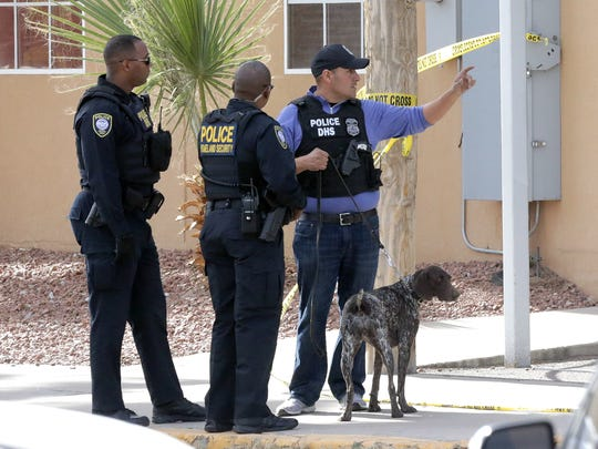 Federal investigators work the scene of a bomb scare in February at the Social Security Administration offices on Texas Avenue in Downtown El Paso. The package outside the offices was determined to be nonhazardous, officials said.