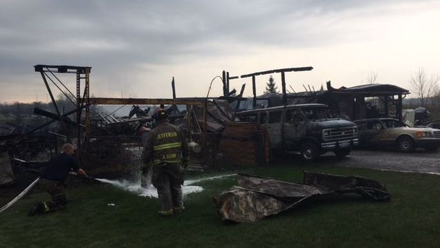 Hal and Randa Wagner of 5923 Crestline Road lost their barn, built in 1904, early Thursday morning to fire. Also lost was Hal's machine shop, four vehicles and a litter of kittens. Jefferson Township is investigating the cause of the fire.