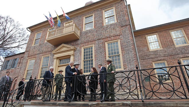 Vice President Joe Biden and Secretary of Interior Ken Salazar along with Sen. Tom Carper speak in Old New Castle on March 26,  2013, to celebrate the new First State National Monument.