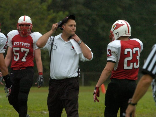 In this 2009 photo, Vito Campanile - then the coach at Westwood - discusses a play with one of his players.