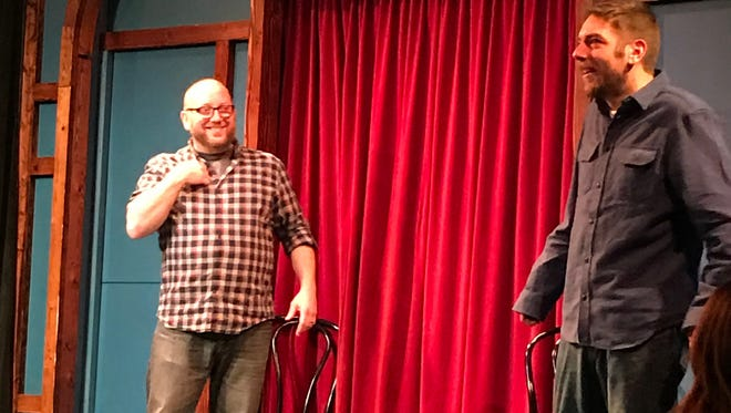 The Brothers Jacokes (Left Pj, right Pete) perform at the 2017 Snow Day event at Go Comedy!