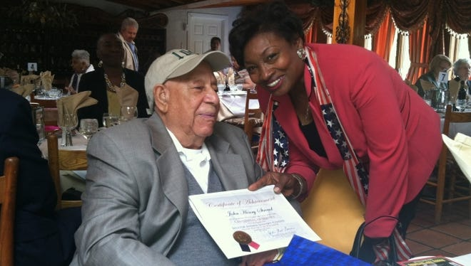 John Stroud on his 100th birthday with state. Sen. Andrea Stewart-Cousins