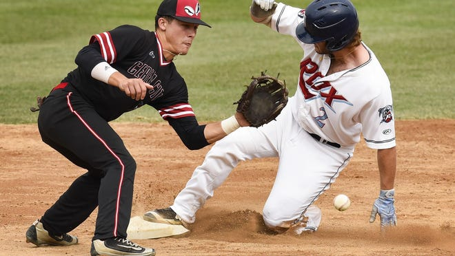 St. Cloud Rox's Matthew Tarantino safely steals second before the tag by Battle Creek's Gavin Homer during the third inning Thursday, Aug. 17, at Joe Faber Field.